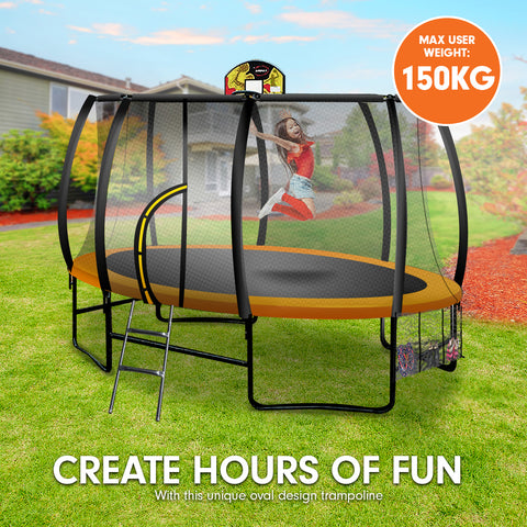 Kahuna Trampoline 8 ft x 14ft Oval with Basketball Set - Orange
