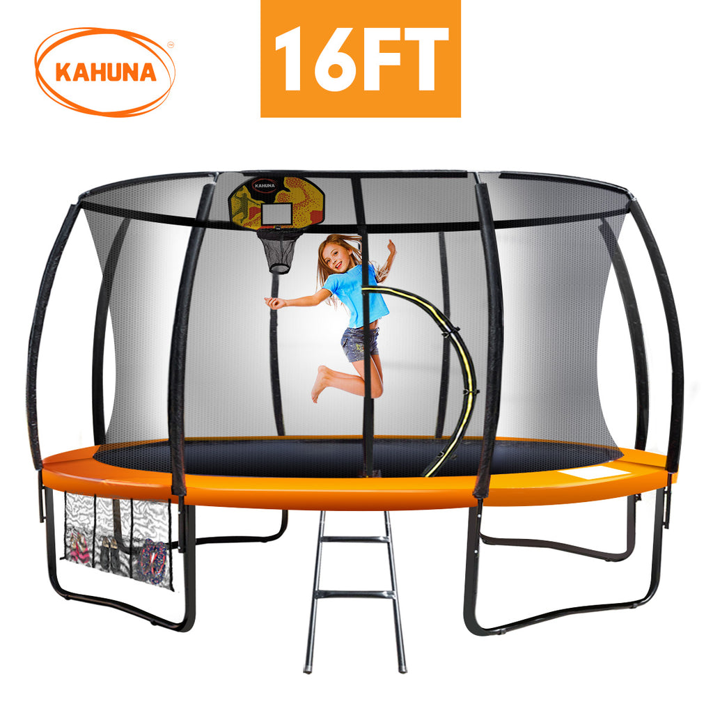 Kahuna Trampoline 16 ft with Basketball set - Orange