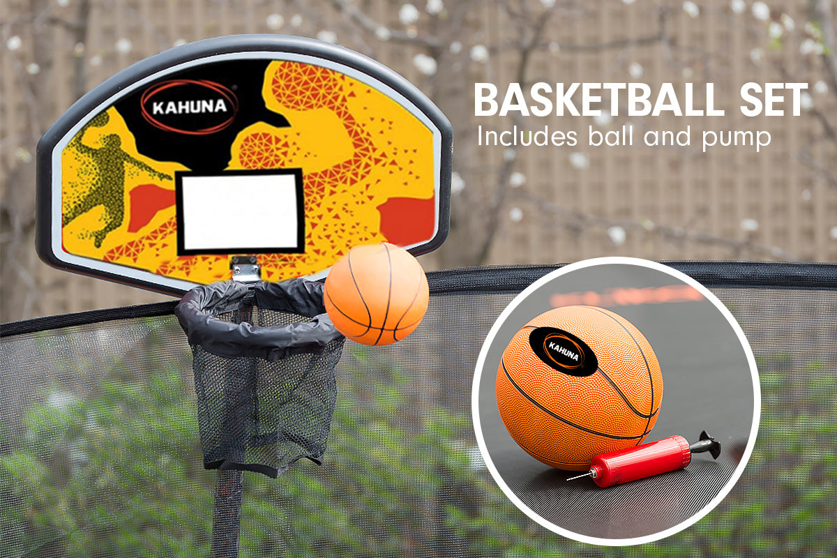 Kahuna Trampoline 16ft with Basketball Set - Rainbow