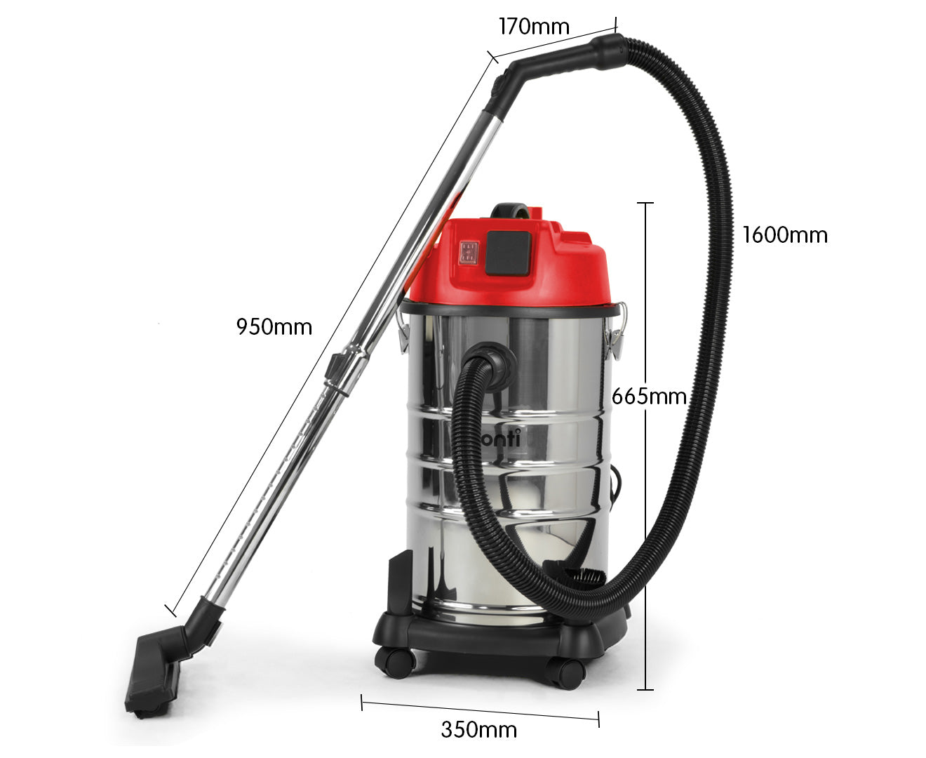 Pronti 1200W Stainless Steel Wet Dry Vacuum Cleaner - 30L
