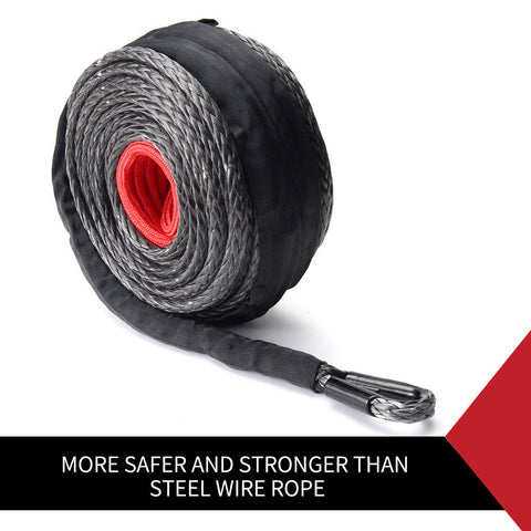 Winch Rope 10MM x 30M Synthetic Dyneema SK75 Tow Recovery Cable 4WD Car Boat