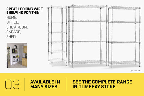 Syncrosteel Chrome Wire Shelving Storage Unit 1500x350mm - 1.8m High