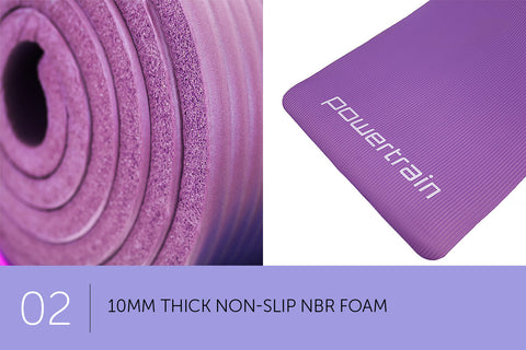 Powertrain 10mm NBR Yoga Exercise Mat - Pink