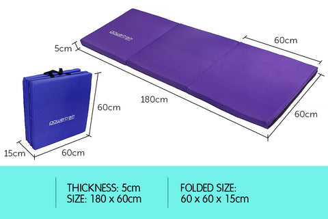 Powertrain Yoga Exercise Tri-fold Mat 180x60x5cm - Pink