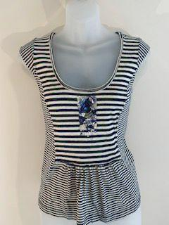 Rebecca Taylor Size Small Navy/Cream Top - Wear it Well Boutique