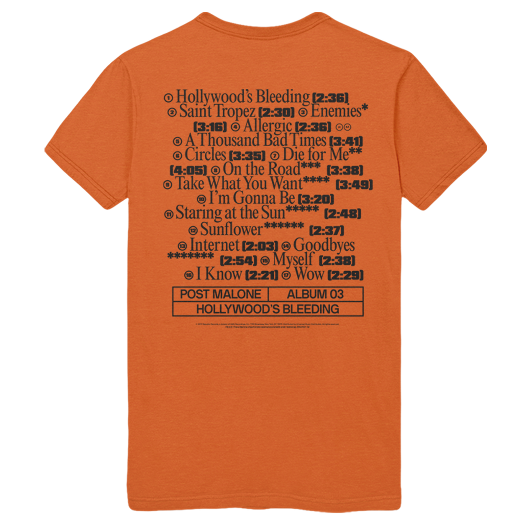 Hollywood's Bleeding Tracklist Tee - Orange