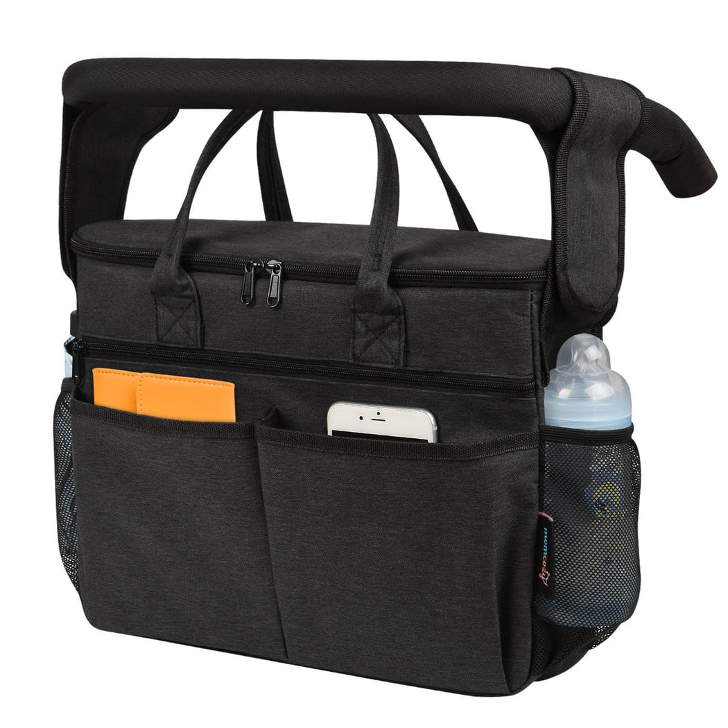 Momcozy ® Insulated Stroller Organizer Bag- Black