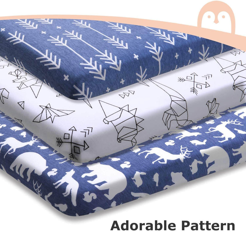 Momcozy 3 pack Animal Dinosaur Arrow Cotton Bassinet Sheets