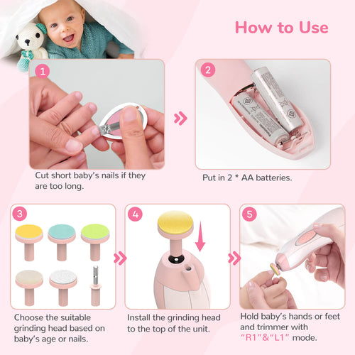 Momcozy Baby Nail Clippers and Baby Nail File with Light Set