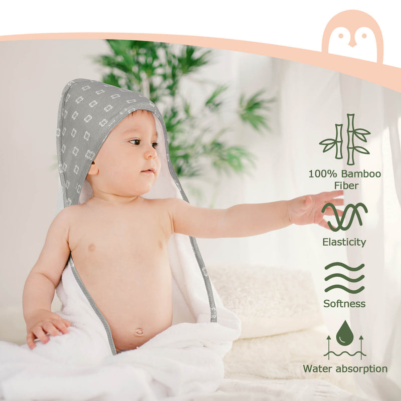 Momcozy 4 Pack Bamboo Baby Bath Towel and Washcloths