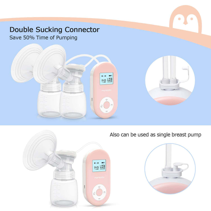 Momcozy Double Electric Breast Pump Portable Pain-Free Rechargable