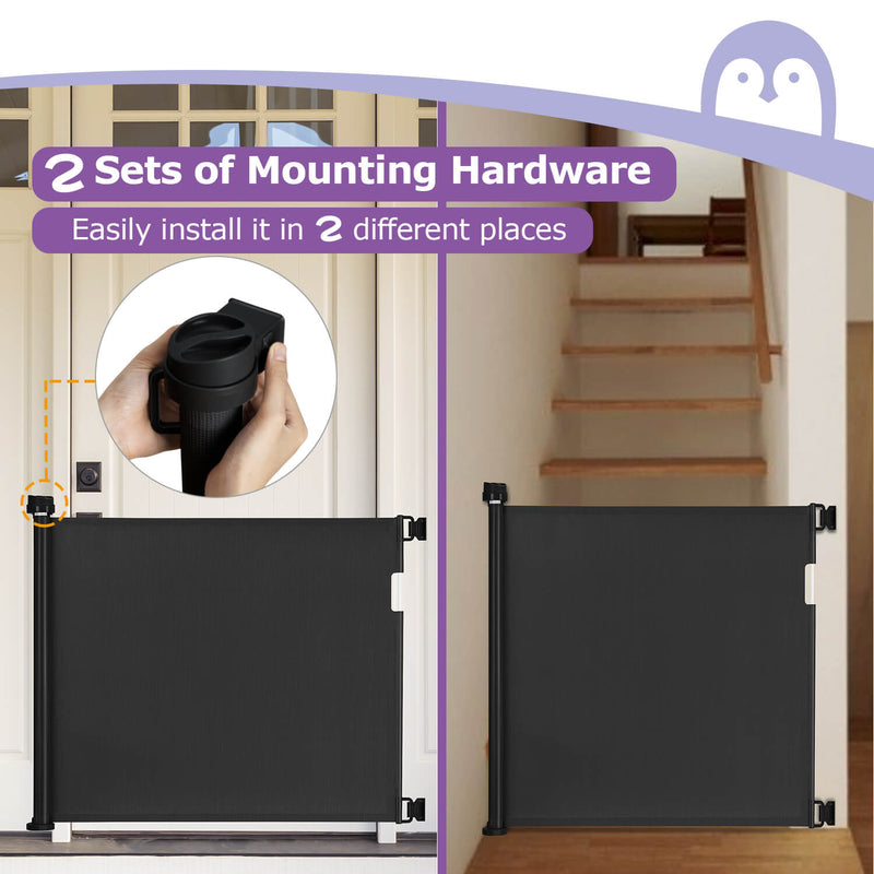 Retractable baby gate for stairs