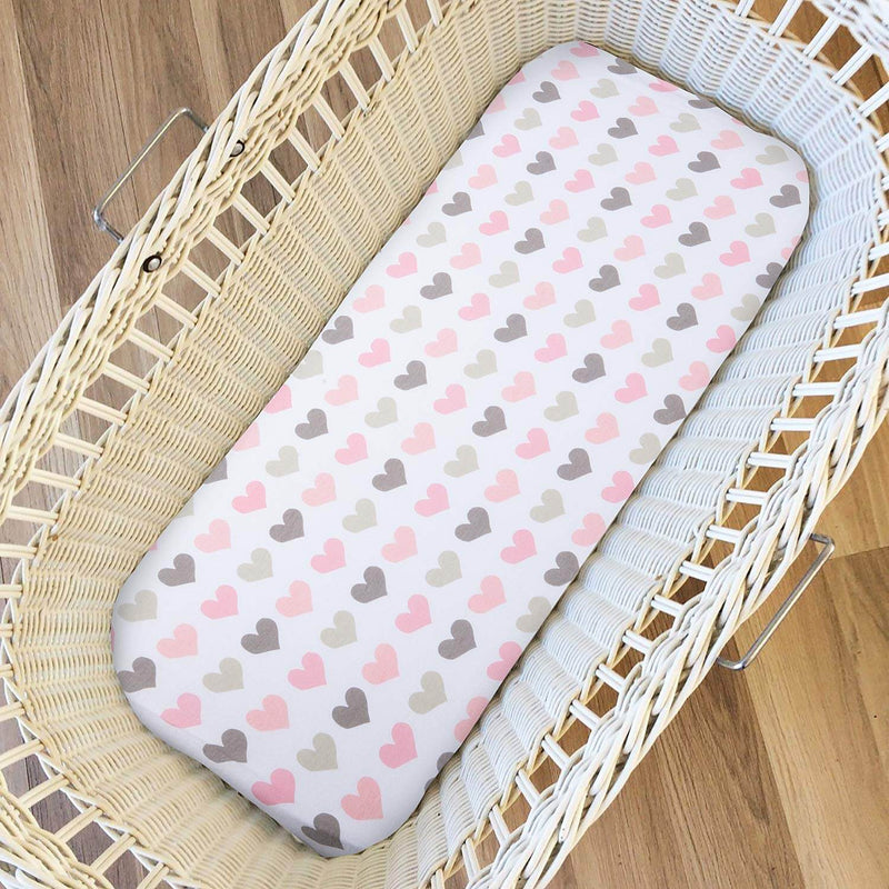 Momcozy 2 Pack Pink Bassinet Sheets