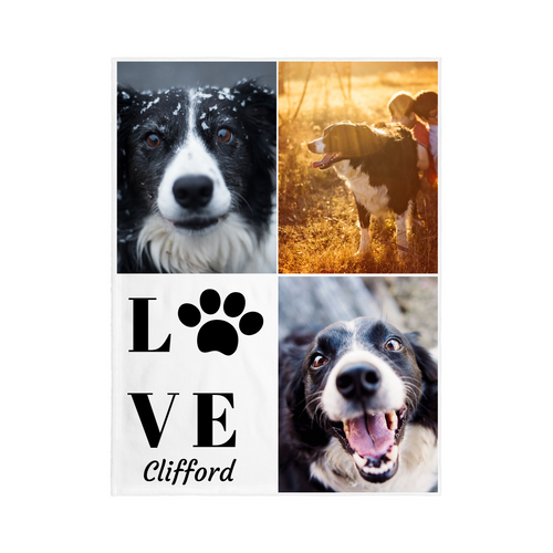 3 Photo LOVE PET Name Blanket