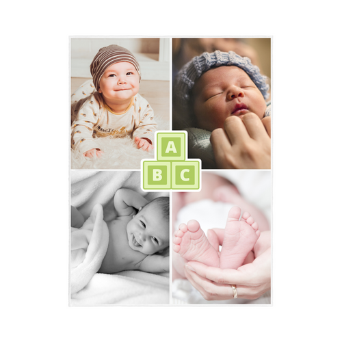 4 PHOTO Personalized Blanket - Baby Style