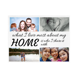 "4 PHOTO Personalized Blanket - ""What I Love Most About My Home"""