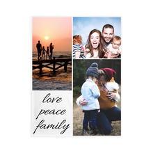 "Load image into Gallery viewer, 3 PHOTO Blanket - ""LOVE, PEACE, FAMILY"""