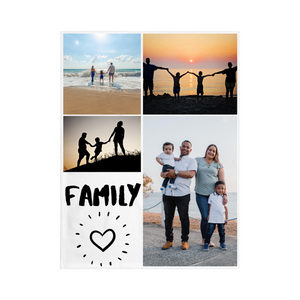"4 PHOTO Personalized Blanket - ""Family"""