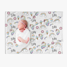 Load image into Gallery viewer, Sweet Things 🦄🌈🧁 Personalized Baby Name Blanket