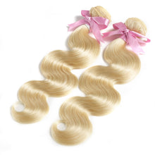 "Load image into Gallery viewer, 8- 28"" 613 Blonde Body Wave Bundles With Lace Frontal"