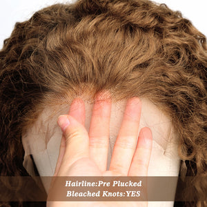 27 Ombre Color Short Mongolian Curly 13X6 Lace Front Human Hair Wig | With Baby Hair & Pre Plucked