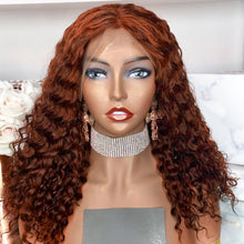 Load image into Gallery viewer, 13X4 Deep Wave Ginger Orange Brazilian Remy Water | Pre plucked Lace Frontal Wig
