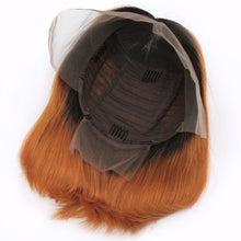 Load image into Gallery viewer, Ombre Orange Color Lace Front Human Hair Bob Wig | Pre Plucked