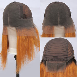 Ombre Orange Color Lace Front Human Hair Bob Wig | Pre Plucked