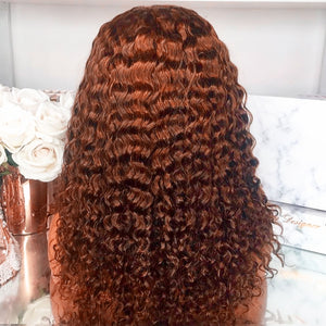 13X4 Deep Wave Ginger Orange Brazilian Remy Water | Pre plucked Lace Frontal Wig