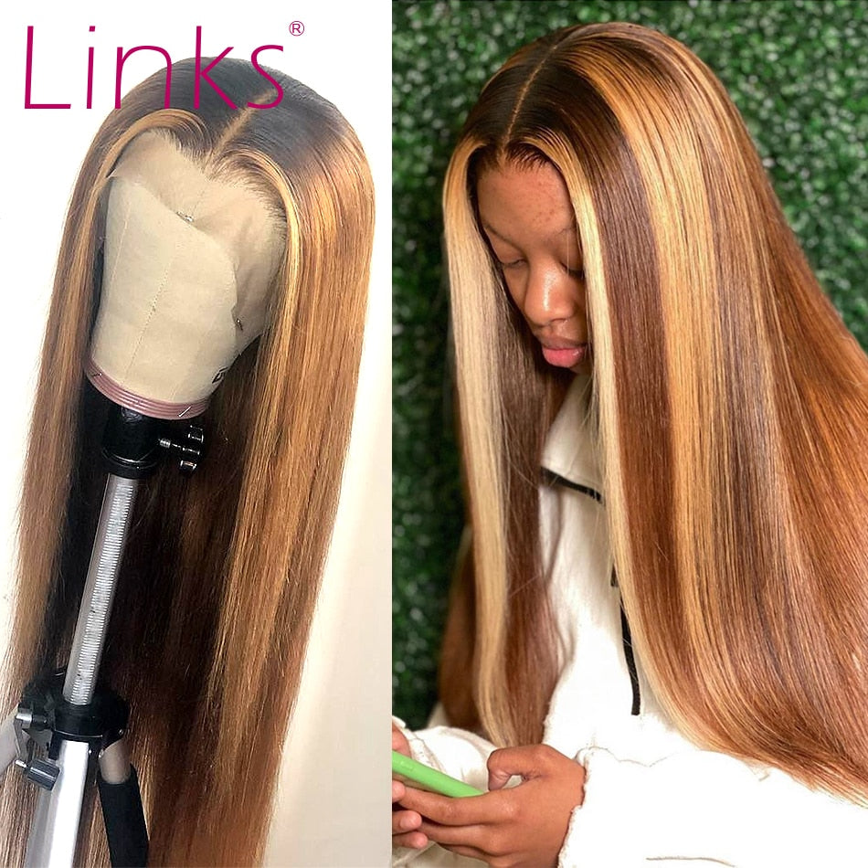 Pre plucked Straight Ombre brown Frontal Wig with highlights