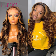 Load image into Gallery viewer, Brown Honey Blonde Highlighted Frontal Wig – Loose Wave & Pre plucked