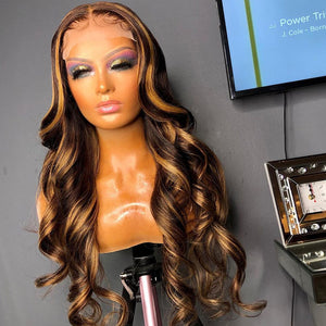 Brown Honey Blonde Highlighted Frontal Wig – Loose Wave & Pre plucked