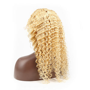 613 Honey Blonde Malaysian Curly Lace Front Wig | Deep Wave | Pre Plucked | Free Shipping