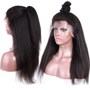 Brazilian Kinky Straight Lace Front Human Hair Wig | Pre-plucked with Baby Hair | Lace Front Wig For Black Women