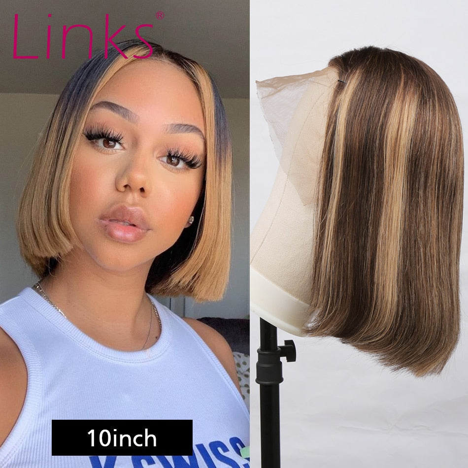 Honey Blonde Ombre Lace Front bob Wig | Bleached knots