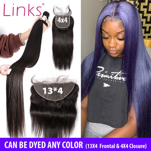 Brazilian Hair Bundles With Lace Frontal Closure