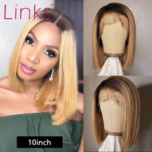 Load image into Gallery viewer, Straight #27 1b 27 Lace Front Human Hair Wig | 8-16 inch Glueless Bob Short Frontal Wig