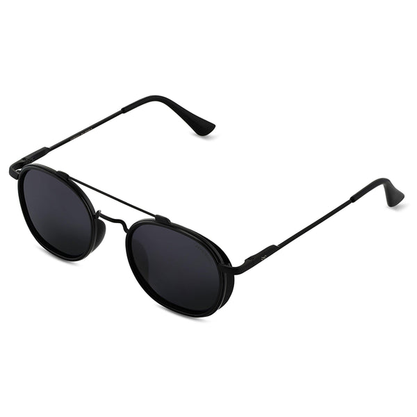 Full Black S4612 Metal Frame Polarized Round Sunglasses