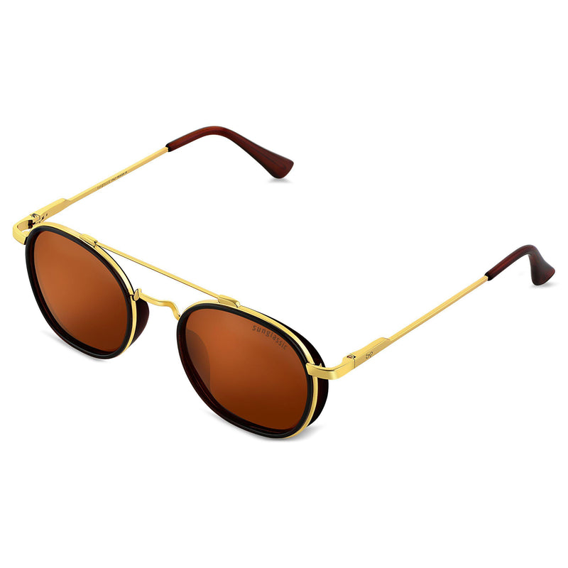 Golden Brown SG4612 Metal Frame Polarized Round Sunglasses