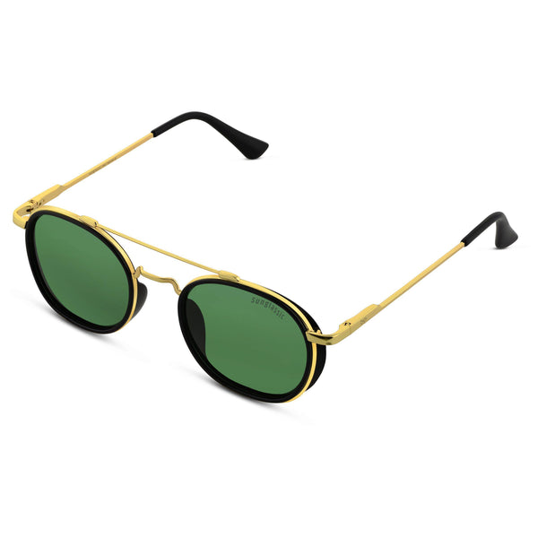 Green And Gold SG4612 Metal Frame Polarized Round Sunglasses