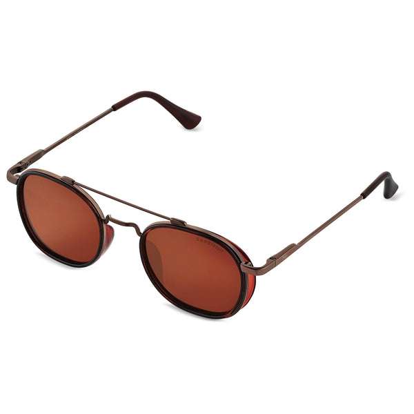Full Brown S4612 Metal Frame Round Sunglasses