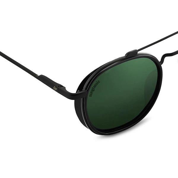 Green And Black SG4612 Metal Frame Polarized Round Sunglasses