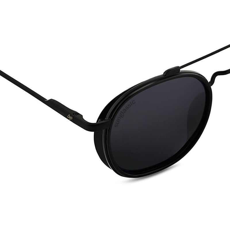 Full Black SG4612 Metal Frame Round Sunglasses