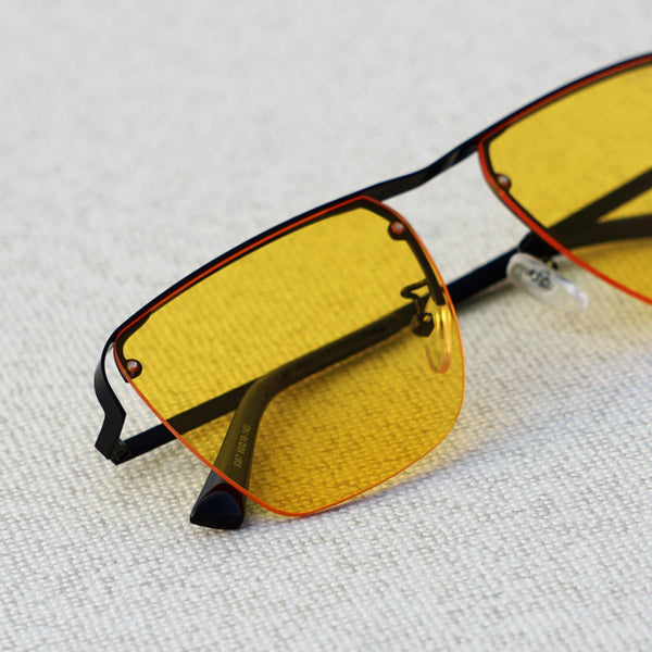 Heldish Yellow Candy  Metal Frame Square Sunglasses