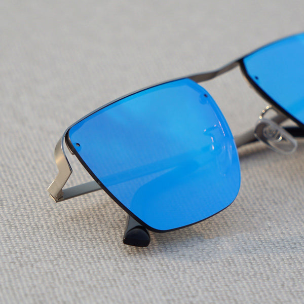 Heldish Aqua Blue Metal Frame Square Sunglasses