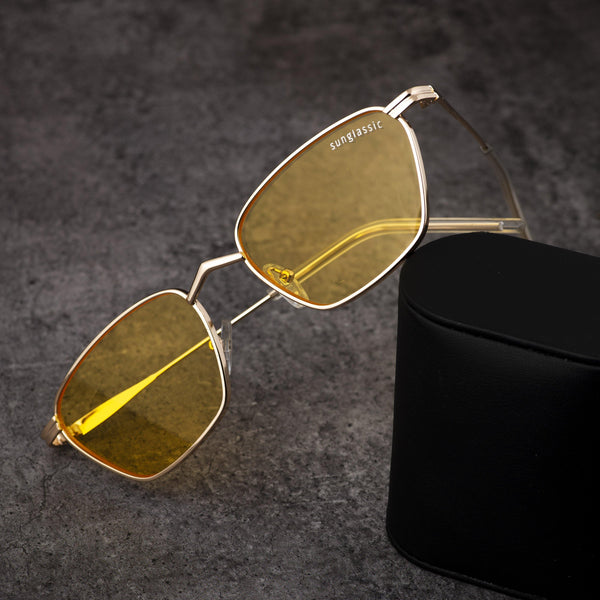 Andreas Yellow Gold Edition Trapezoid Sunglasses