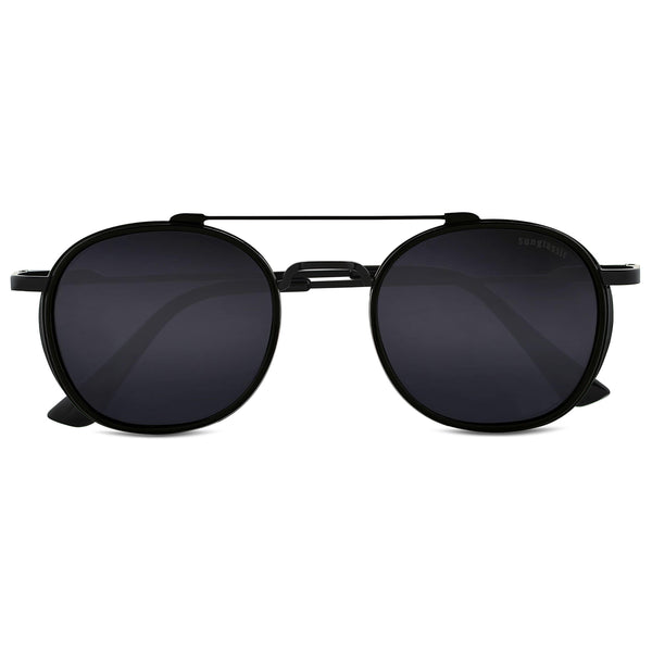 Full Black S4612 Metal Frame Round Sunglasses