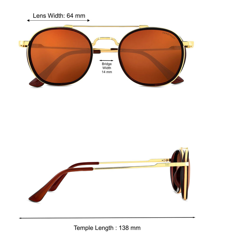 Golden Brown S4612 Metal Frame Polarized Round Sunglasses
