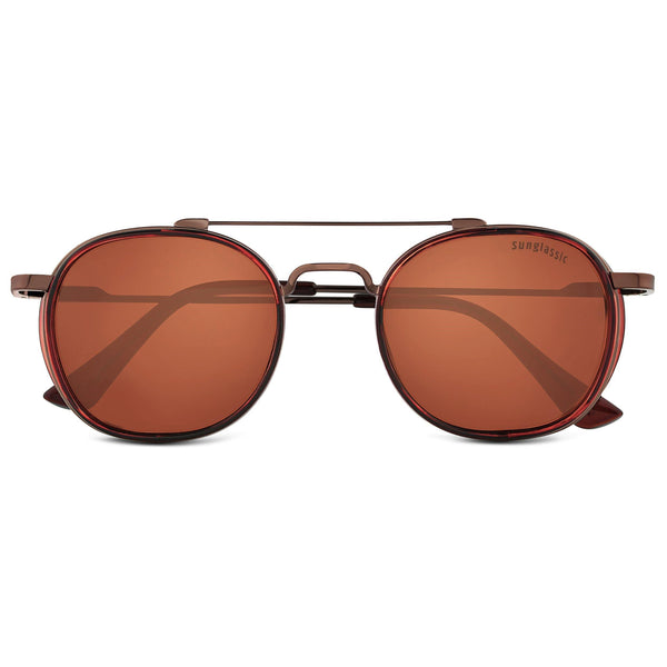 Full Brown S4612 Metal Frame Polarized Round Sunglasses