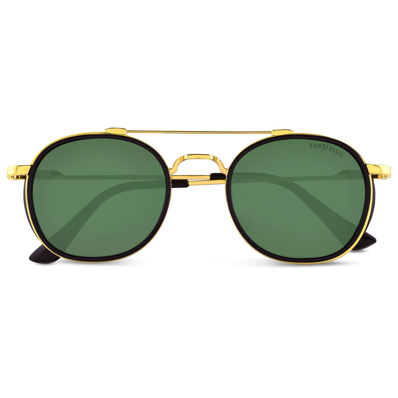 Green And Gold S4612 Metal Frame Polarized Round Sunglasses
